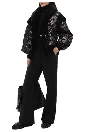 Женская куртка с пайетками BALMAIN черного цвета, арт. UF19502/X284 | Фото 2