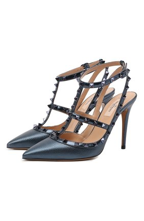 Женские кожаные туфли rockstud VALENTINO темно-синего цвета, арт. UW0S0393/NNF | Фото 1