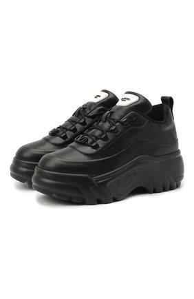 Женские кожаные кроссовки flyover VALENTINO черного цвета, арт. UW0S0AQ5/YAN | Фото 1 (Подошва: Платформа; Материал внутренний: Текстиль)