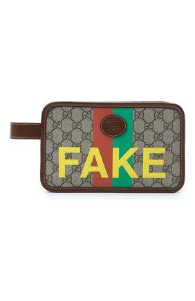 Мужской несессер «fake/not» GUCCI коричневого цвета, арт. 636243/2GCAG | Фото 1