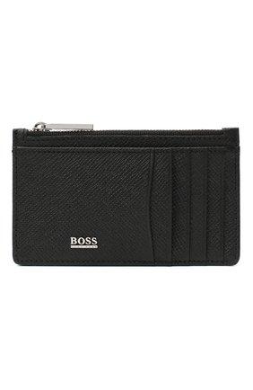 Мужской кожаный футляр для кредитных карт BOSS черного цвета, арт. 50326710 | Фото 1