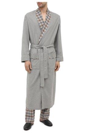 Мужские домашние брюки из хлопка и шерсти ZIMMERLI серого цвета, арт. 4600-75180 | Фото 2