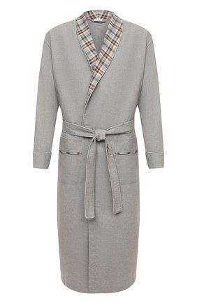 Мужской халат из хлопка и шерсти ZIMMERLI серого цвета, арт. 4600-75143 | Фото 1