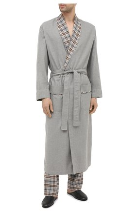 Мужской халат из хлопка и шерсти ZIMMERLI серого цвета, арт. 4600-75143 | Фото 2