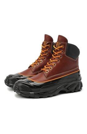 Мужские кожаные ботинки BURBERRY коричневого цвета, арт. 8031085 | Фото 1