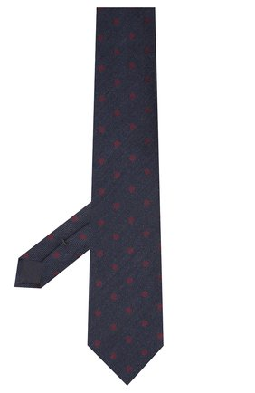 Мужской галстук из шерсти и хлопка VAN LAACK темно-синего цвета, арт. LUIS-EL/K04107 | Фото 2 (Материал: Хлопок, Текстиль, Шерсть; Принт: С принтом)