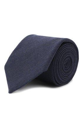 Мужской галстук из шелка и шерсти VAN LAACK темно-синего цвета, арт. LUIS-EL/K04102 | Фото 1 (Материал: Текстиль, Шерсть; Принт: Без принта)