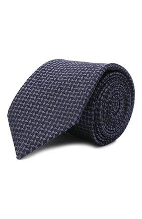 Мужской галстук из шелка и хлопка VAN LAACK синего цвета, арт. LUIS-EL/K04095 | Фото 1