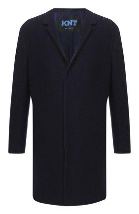 Мужской кашемировое пальто KNT темно-синего цвета, арт. USP0101K02T15 | Фото 1 (Рукава: Длинные; Материал внешний: Шерсть; Мужское Кросс-КТ: Верхняя одежда, пальто-верхняя одежда; Стили: Классический; Материал подклада: Купро)