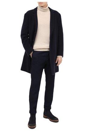 Мужской кашемировое пальто KNT темно-синего цвета, арт. USP0101K02T15 | Фото 2 (Рукава: Длинные; Материал внешний: Шерсть; Мужское Кросс-КТ: Верхняя одежда, пальто-верхняя одежда; Стили: Классический; Материал подклада: Купро)