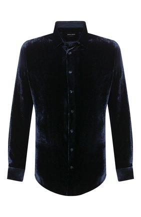 Мужская рубашка из вискозы и шелка GIORGIO ARMANI темно-синего цвета, арт. 8WGCCZ97/TZ741 | Фото 1
