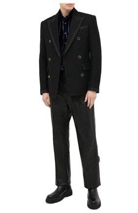 Мужская рубашка из вискозы и шелка GIORGIO ARMANI темно-синего цвета, арт. 8WGCCZ97/TZ741 | Фото 2