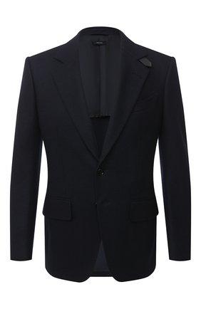 Мужской шерстяной пиджак TOM FORD темно-синего цвета, арт. 877R11/13M440 | Фото 1