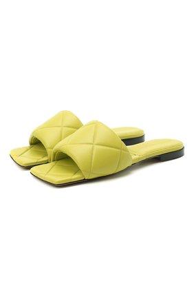 Женские кожаные шлепанцы bv rubber BOTTEGA VENETA светло-зеленого цвета, арт. 639940/VBP30 | Фото 1