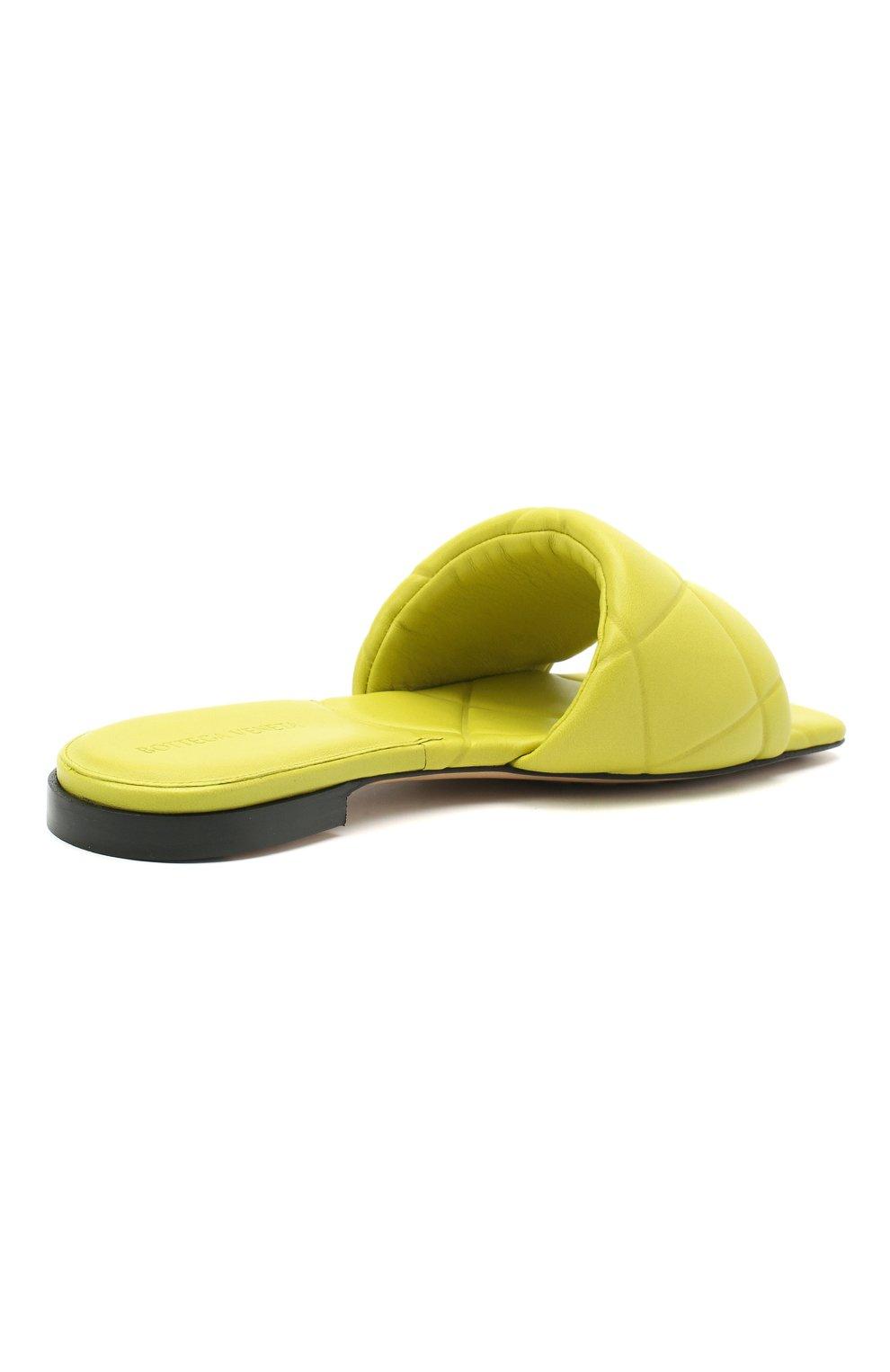 Женские кожаные шлепанцы bv rubber BOTTEGA VENETA светло-зеленого цвета, арт. 639940/VBP30 | Фото 4