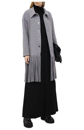 Женское шерстяное пальто DOROTHEE SCHUMACHER серого цвета, арт. 946001/ALL AB0UT FRINGE | Фото 2