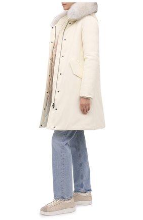 Женские кожаные кеды SANTONI бежевого цвета, арт. WBWI60714BIAPMDYE21 | Фото 2