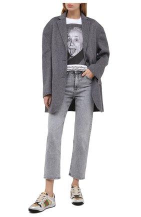 Женские кожаные кеды screener GUCCI серебряного цвета, арт. 627833/1TR20   Фото 2