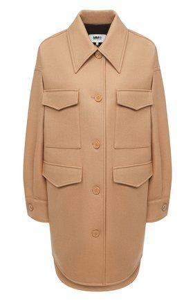 Женское шерстяное пальто MM6 коричневого цвета, арт. S32AM0339/S52207 | Фото 1