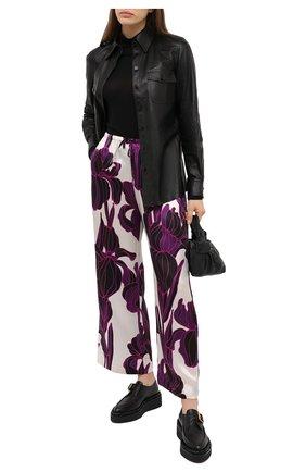 Женские шелковые брюки DRIES VAN NOTEN фуксия цвета, арт. 202-10984-1135 | Фото 2
