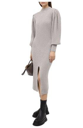 Женское платье из кашемира и шерсти ISABEL MARANT светло-серого цвета, арт. R01846-20H003I/PERRINE | Фото 2