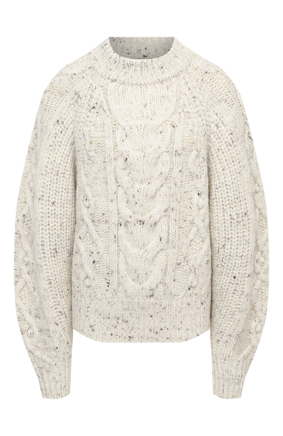 Женский шерстяной свитер ISABEL MARANT бежевого цвета, арт. PU1481-20H007I/FL0VER   Фото 1