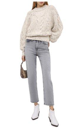 Женский шерстяной свитер ISABEL MARANT бежевого цвета, арт. PU1481-20H007I/FL0VER   Фото 2