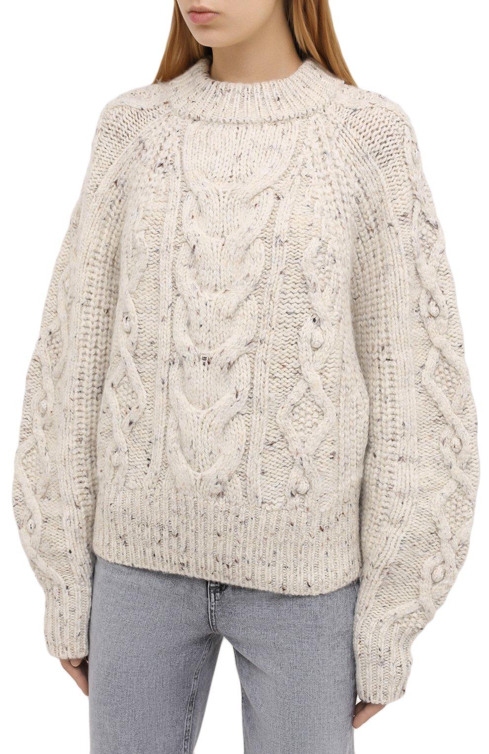 Женский шерстяной свитер ISABEL MARANT бежевого цвета, арт. PU1481-20H007I/FL0VER   Фото 3