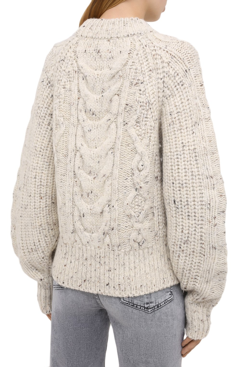 Женский шерстяной свитер ISABEL MARANT бежевого цвета, арт. PU1481-20H007I/FL0VER   Фото 4