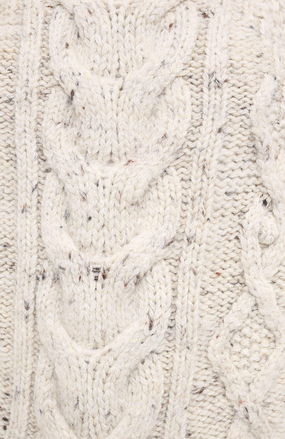 Женский шерстяной свитер ISABEL MARANT бежевого цвета, арт. PU1481-20H007I/FL0VER   Фото 5