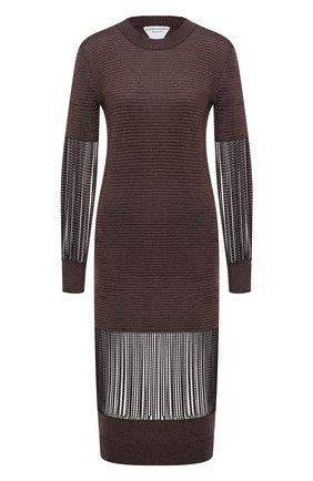 Женское платье из вискозы BOTTEGA VENETA коричневого цвета, арт. 626873/VKWL0 | Фото 1