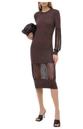 Женское платье из вискозы BOTTEGA VENETA коричневого цвета, арт. 626873/VKWL0 | Фото 2