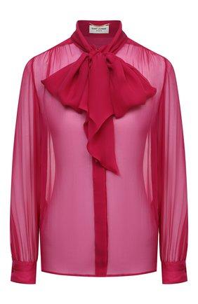 Женская шелковая блузка SAINT LAURENT розового цвета, арт. 642371/Y065W   Фото 1