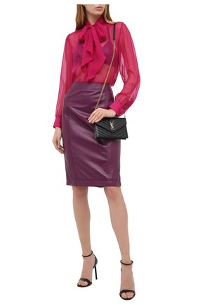 Женская шелковая блузка SAINT LAURENT розового цвета, арт. 642371/Y065W   Фото 2