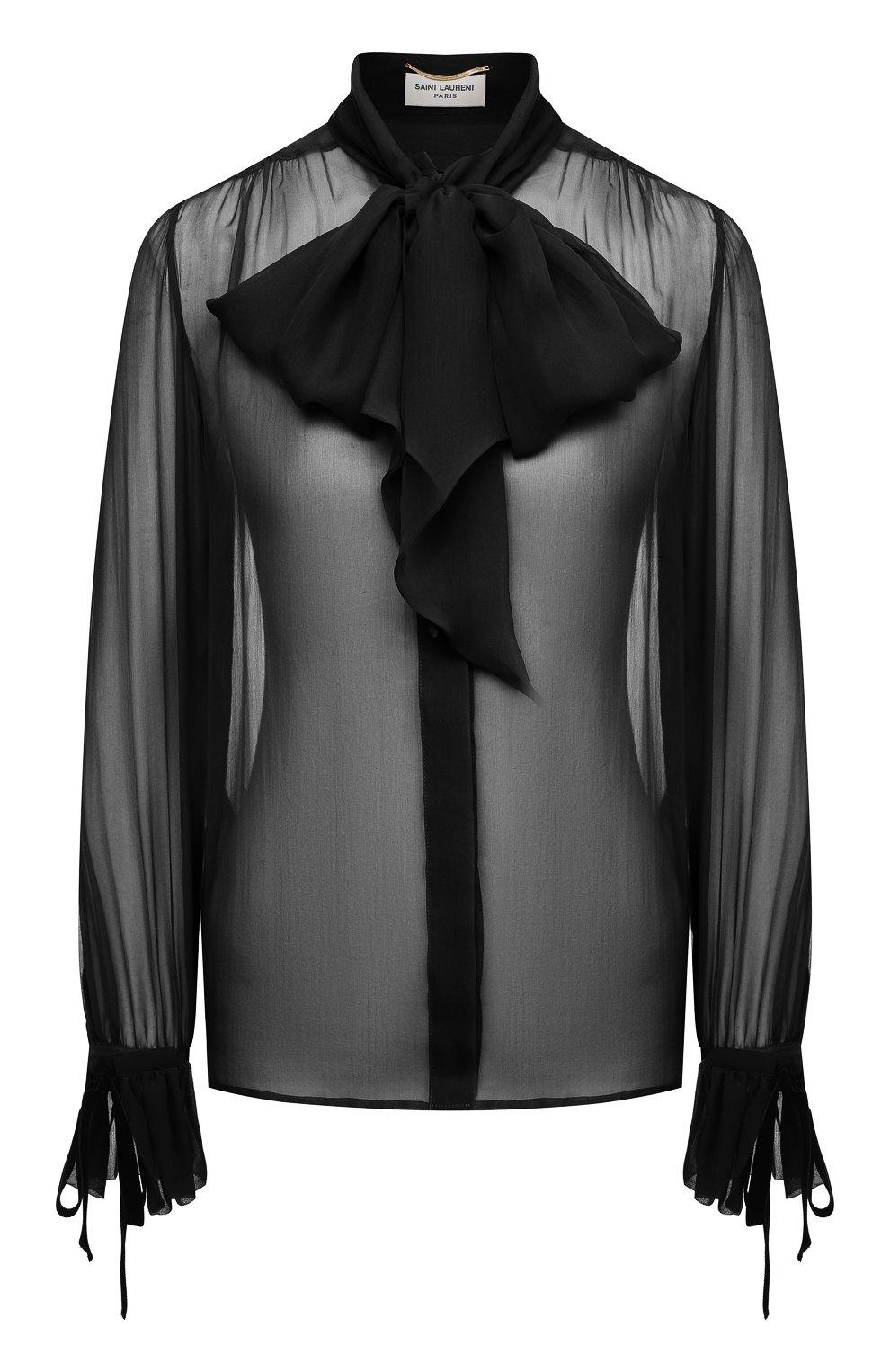 Женская шелковая блузка SAINT LAURENT черного цвета, арт. 642299/Y115W   Фото 1 (Материал внешний: Шелк; Рукава: Длинные; Принт: Без принта; Длина (для топов): Стандартные; Стили: Бохо, Романтичный; Женское Кросс-КТ: Блуза-одежда)