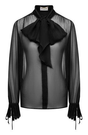 Женская шелковая блузка SAINT LAURENT черного цвета, арт. 642299/Y115W | Фото 1
