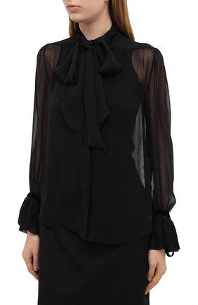 Женская шелковая блузка SAINT LAURENT черного цвета, арт. 642299/Y115W   Фото 3 (Материал внешний: Шелк; Рукава: Длинные; Принт: Без принта; Длина (для топов): Стандартные; Стили: Бохо, Романтичный; Женское Кросс-КТ: Блуза-одежда)