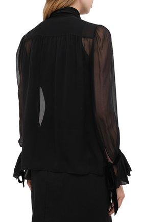 Женская шелковая блузка SAINT LAURENT черного цвета, арт. 642299/Y115W   Фото 4 (Материал внешний: Шелк; Рукава: Длинные; Принт: Без принта; Длина (для топов): Стандартные; Стили: Бохо, Романтичный; Женское Кросс-КТ: Блуза-одежда)