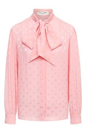 Женская шелковая блузка SAINT LAURENT розового цвета, арт. 641593/Y7B25   Фото 1