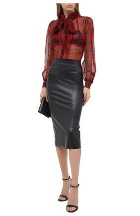 Женская шелковая блузка SAINT LAURENT красного цвета, арт. 641585/Y8B86   Фото 2
