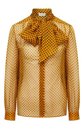 Женская шелковая блузка SAINT LAURENT желтого цвета, арт. 641458/Y7B86   Фото 1