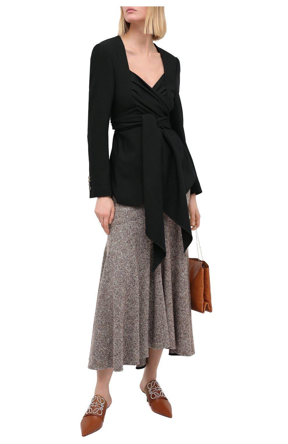 Женская юбка из шерсти и шелка PETAR PETROV коричневого цвета, арт. R0NLY F20R13 | Фото 2 (Материал внешний: Шерсть; Женское Кросс-КТ: Юбка-одежда; Длина Ж (юбки, платья, шорты): Макси; Материал подклада: Купро; Стили: Кэжуэл)
