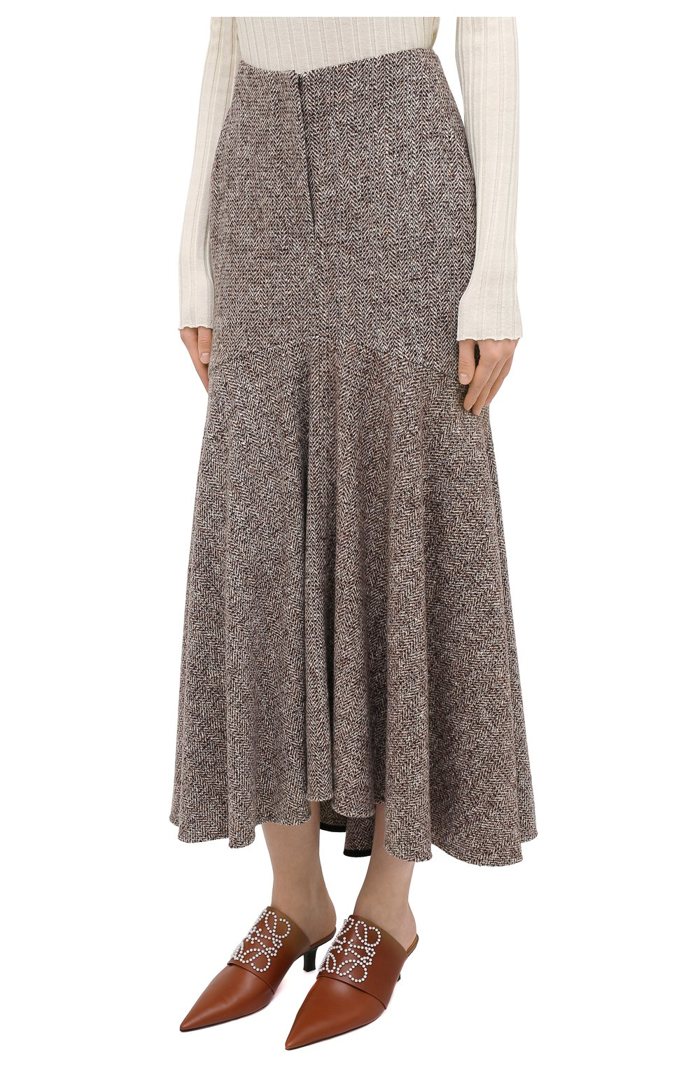 Женская юбка из шерсти и шелка PETAR PETROV коричневого цвета, арт. R0NLY F20R13 | Фото 3 (Материал внешний: Шерсть; Женское Кросс-КТ: Юбка-одежда; Длина Ж (юбки, платья, шорты): Макси; Материал подклада: Купро; Стили: Кэжуэл)