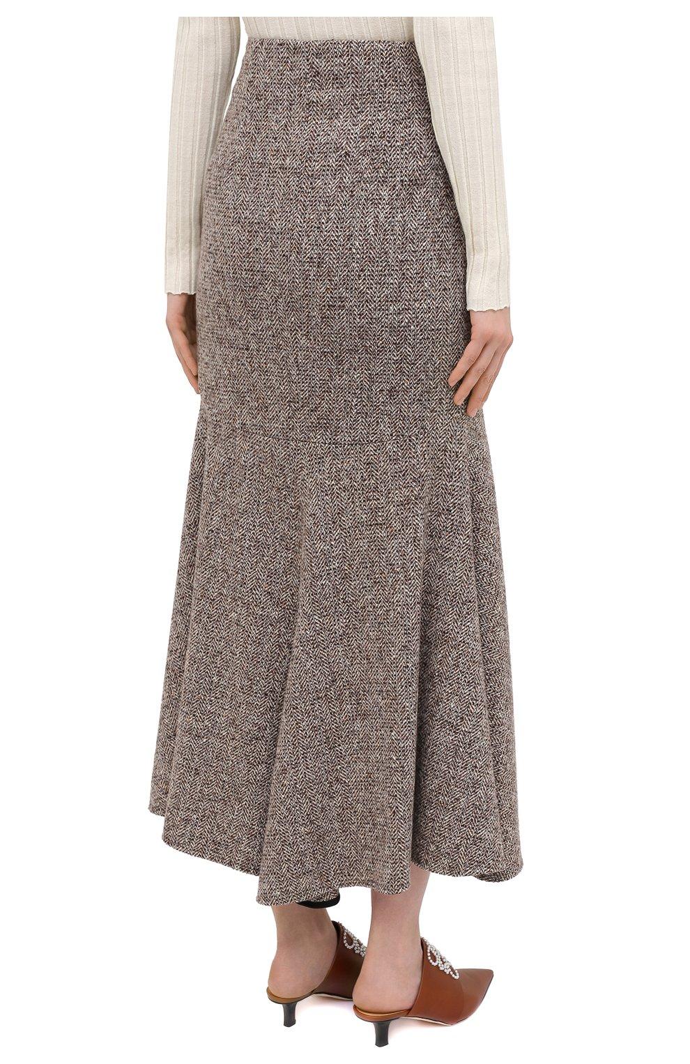 Женская юбка из шерсти и шелка PETAR PETROV коричневого цвета, арт. R0NLY F20R13 | Фото 4 (Материал внешний: Шерсть; Женское Кросс-КТ: Юбка-одежда; Длина Ж (юбки, платья, шорты): Макси; Материал подклада: Купро; Стили: Кэжуэл)