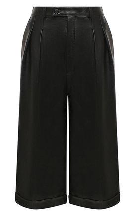 Женские кожаные шорты SAINT LAURENT черного цвета, арт. 636127/Y50A2 | Фото 1