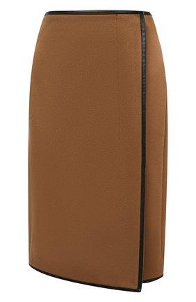 Женская юбка из шерсти и кашемира SAINT LAURENT коричневого цвета, арт. 636752/Y3A43 | Фото 1