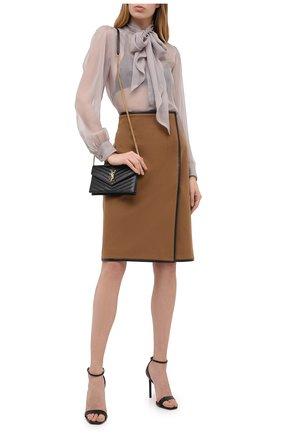 Женская юбка из шерсти и кашемира SAINT LAURENT коричневого цвета, арт. 636752/Y3A43 | Фото 2