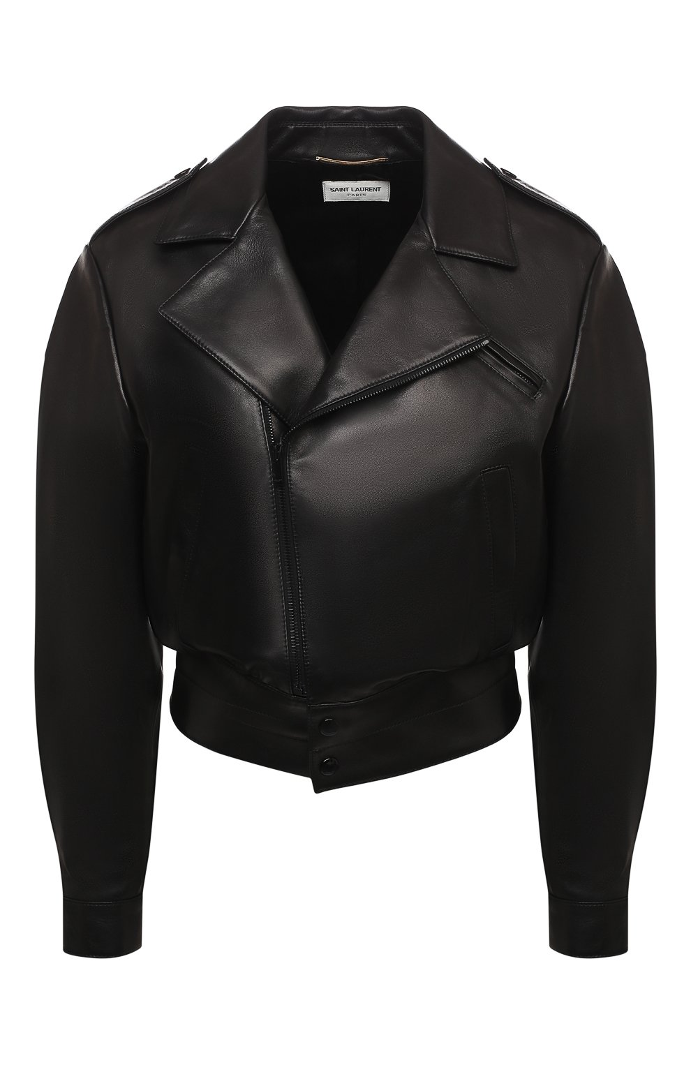Женская кожаная куртка SAINT LAURENT черного цвета, арт. 636922/YCDF2 | Фото 1
