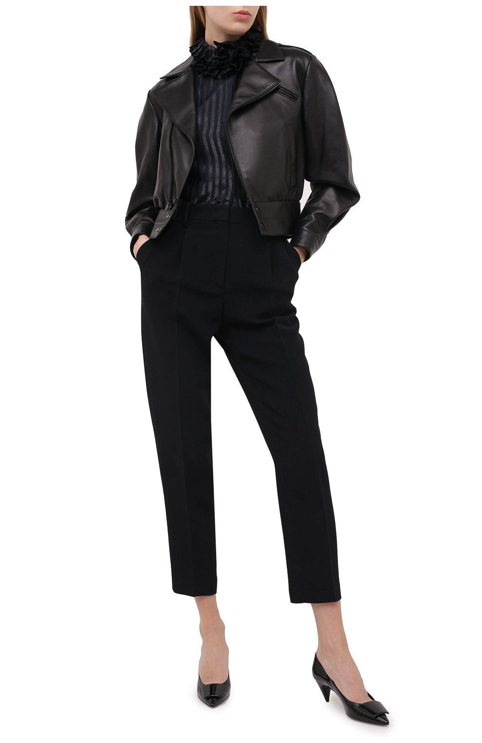 Женская кожаная куртка SAINT LAURENT черного цвета, арт. 636922/YCDF2 | Фото 2