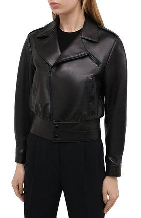 Женская кожаная куртка SAINT LAURENT черного цвета, арт. 636922/YCDF2 | Фото 3